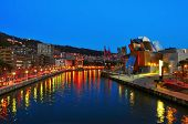 BILBAO, SPAIN - NOVEMBER 14: Estuary and Guggenheim Museum at night on November 14, 2012 in Bilbao,