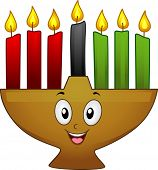 Mascot Illustration of a Kinara with Lit Candles in Celebratiion of Kwanzaa