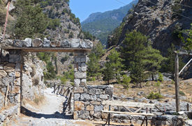 image of samaria  - Entry of the Samaria gorge at Crete island in Greece - JPG