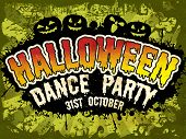 Flyer, poster or banner for Halloween Dance Party on grungy green background with scary pumpkins.