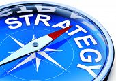 image of strategy  - illustration of a compass with a strategy icon - JPG