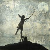 stock photo of shepherdess  - Young woman reaching for the moon - JPG