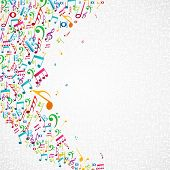 picture of clip-art staff  - Colorful random music notes isolated background - JPG