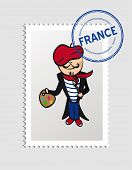 France Cartoon Person Travel Stamp.