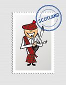 Scotland Cartoon Person Travel Stamp.