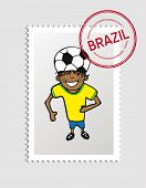 Brazil Cartoon Person Travel Stamp.