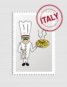 Italy Cartoon Person Travel Stamp.