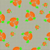 Traditional Handmade Folk Seamless Floral Background With Orange Roses