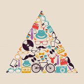 Retro Hipsters Icons Triangle.