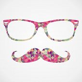 foto of mustache  - Colorful vintage hipsters icons mustache and glasses face triangle isolated over white background - JPG
