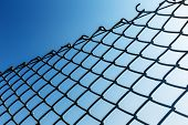 stock photo of chain link fence  - Outdoor Chain link fence - JPG