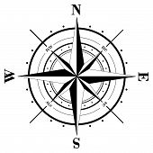 picture of compass rose  - Black compass rose isolated on white background - JPG