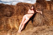sexy girl on hay stack
