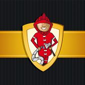 Service Firefighter Man Cartoon Rescue Shield.