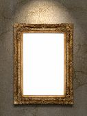 Gold Vintage Photo Frame On Grunge Wall