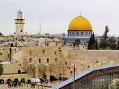 stock photo of synagogue  - Wailing Wall and Al Aqsa Mosque in Jerusalem Israel - JPG