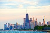 stock photo of illinois  - Chicago Illinois USA downtown landmark buildings at sunset - JPG