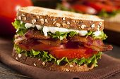stock photo of tomato sandwich  - Fresh Homemade BLT Sandwich with Bacon Lettuce and Tomato - JPG