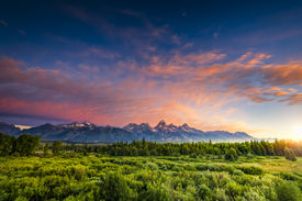 foto of blacktail  - Colorful sunrise at Blacktail Ponds Overlook in the Tetons - JPG