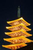 Pagoda at asakusa Sensoji temple in Tokyo Japan