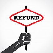 refund word banner held in hand stock vector