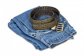 Blue jeans and leather belt isolated over white  with clipping path.