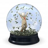 3D Rich Business Man In Snow Globe - Money Rain