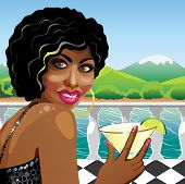 Fanny Mulatto Girl With Cocktail In Nature. Illustration