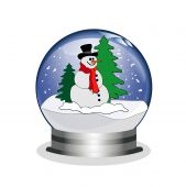snowglobe with snowman and trees