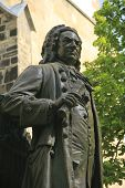 stock photo of thomas  - Monument for Johann Sebastian Bach in front of the  - JPG