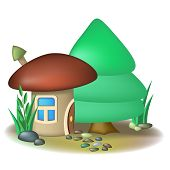 picture of fairy-mushroom  - Fairy mushroom house with chimney and fir tree - JPG