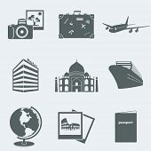 Vector illustration of icons on a theme of tourism