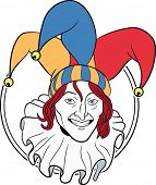 pic of jester  - Jester face in a circle - JPG