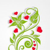 Happy Valentines Day celebration greeting card design with beautiful love plant on grey background.