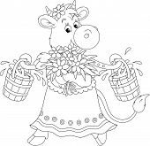 image of yoke  - Funny cow walking with bucketful of milk - JPG