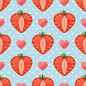 Heart Of Strawberry,polka Dot And Hearts In Seamless Pattern