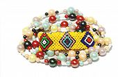 Isolated Colorful Beaded Bracelet And Necklace On White