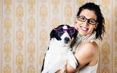 Funny Woman And Dog With Glasses