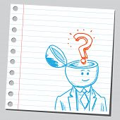 Businessman open headed with question mark (curiosity concept)