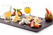Cheese Plate with Honey and Fruits