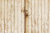 Old Wooden Door With Metal Handle And Lock