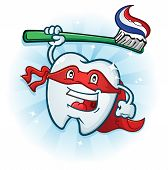 Tooth Super Hero Mascot Cartoon Character