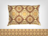 pic of coffee grounds  - Coffee and milk pillow with Indian pattern mockup - JPG
