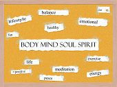 Body Mind Soul Spirit Corkboard Word Concept