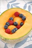 Fresh Fruit salad served in a melon