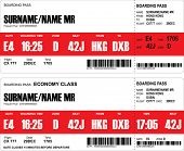foto of boarding pass  - Vector image of airline boarding pass tickets with bar code - JPG