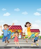 Illustration of a pedestrian lane with a happy family
