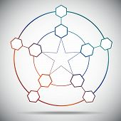 stock photo of pentagram  - Ten cells connected in a pentagram - JPG