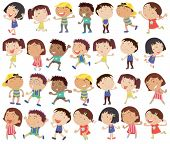 picture of playmates  - Illustration of a group of happy kids on a white background - JPG