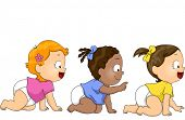 Illustration of Baby Girls Crawling Towards the Right Side of the Screen